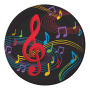 Large Dancing Music Notes Paper Plates 22cm Pk 8
