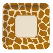 Giraffe Print Square Party Plates - Large 23cm Pk8