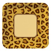 Leopard Print Square Party Plates - Large 23cm Pk8