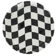 Black Check Party Plates - Large 22.2cm Pk8