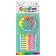 Candles Birthday with Holder Pk24 (24 Assorted Colour Candles & 12 Holders)