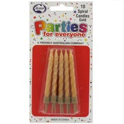 Candles Birthday Spiral Gold Pk10
