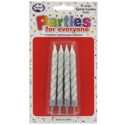 Candles Birthday Jumbo Silver Pk8