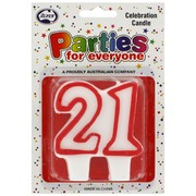 Candles Numeral Red and White #21 Pk1