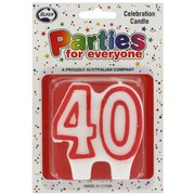 Candles Numeral Red and White #40 Pk1