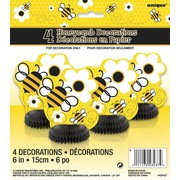 Busy Bees Mini Honeycomb Decorations Pk 4