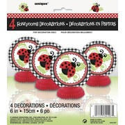 Mini Ladybug Honeycomb Decorations (6in) Pk 4