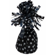 Black Balloon Weight with White Polka Dots Pk 1