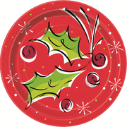 Christmas Holly Pop 7in. Paper Plates Pk 8
