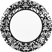 Black & White Damask 9in. Paper Plates Pk 8