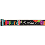 Happy 40th Birthday Cheer Foil Banner (3.6m) Pk 1