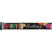 Happy 60th Birthday Cheer Foil Banner (3.6m) Pk 1