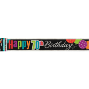 Happy 70th Birthday Cheer Foil Banner (3.6m) Pk 1