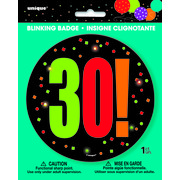 30 Birthday Cheer Blinking Badge Pk 1