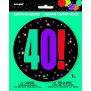 40 Birthday Cheer Blinking Badge Pk 1