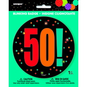 50 Birthday Cheer Blinking Badge Pk 1