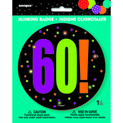 60 Birthday Cheer Blinking Badge Pk 1