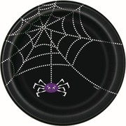 Black Spider Web Halloween 7in Paper Plates Pk 8
