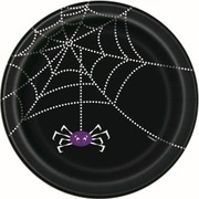Black Spider Web Halloween 9in Paper Plates Pk 8