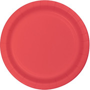Coral Round Paper Plates (9in) Pk 24