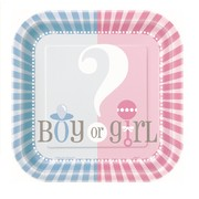 Baby Reveal 7in. Square Paper Plates (Baby Shower) Pk 10
