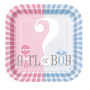 Baby Reveal 9in. Square Paper Plates (Baby Shower) Pk 8