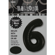Black Number 6 Supershape Foil Balloon (34in/86cm) Pk 1