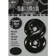 Black Number 8 Supershape Foil Balloon (34in/86cm) Pk 1