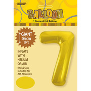 Gold Number 7 Supershape Foil Balloon (34in/86cm) Pk 1