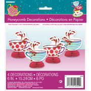 Mad Hatter Tea Party Honeycomb Decorations (15cm) Pk 4