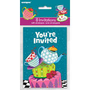 Mad Hatter Tea Party Invitations & Envelopes Pk 8