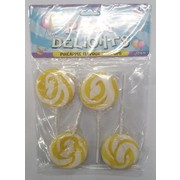 Yellow Swirl Lollipops (Pineapple) Pk 4
