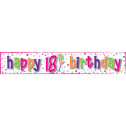 Happy 18th Birthday Girl Laminated Paper Banner Pk1