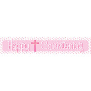 Happy Christening Pink Laminated Paper Banner Pk1