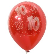 Balloons Latex All Over Print 10 Metallic Assorted Colours Pk10