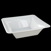 White Plastic Bowls - Square Medium 18cm Pk20