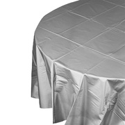 Silver Round Party Tablecover - 213cm Pk1