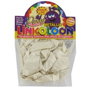 Balloon Link-O-Loon Metallic White Pk16