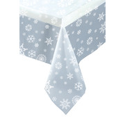 Clear Christmas Snowflakes Tablecover Pk1