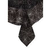 Black Tablecover with Spiderweb Print Pk 1