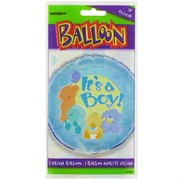 Balloon Foil 18in It's A Boy Baby Animals Pk1
