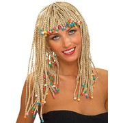 Long Blonde Braided Wig with Beads Pk 1