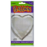 Balloon Foil 18in Silver Heart Pk1