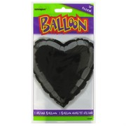 Balloon Foil 18in Black Heart Pk1