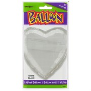 Balloon Foil 18in White Heart Pk1