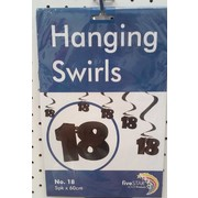 Black 18 Hanging Curl Decorations Pk 5