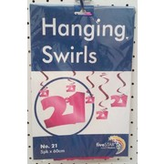 Pink 21 Hanging Curl Decorations Pk 5