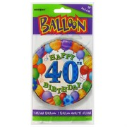Balloon Foil 18in 40 Birthday Balloons Multi Pk1