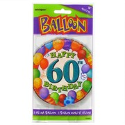 Balloon Foil 18in 60 Birthday Balloons Multi Pk1
