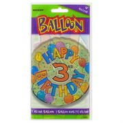 Balloon Foil 18in Balloons Birthday Age 3 Pk1